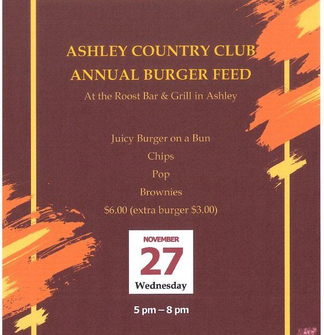 Ashley Country Club Burger Feed!